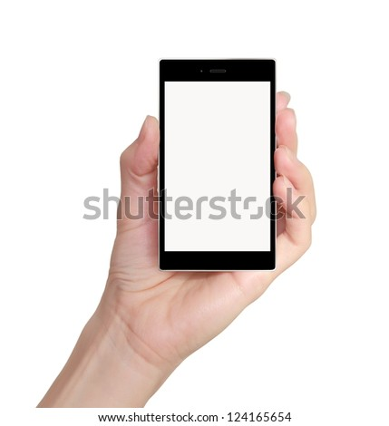 Modern mobile phone woman hand holding isolated on white background
