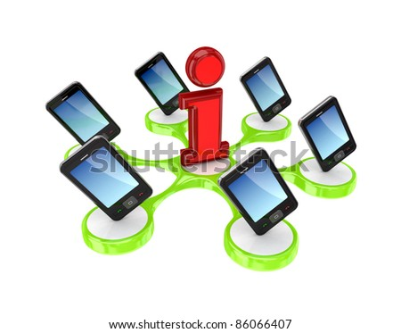 Modern mobile phones around Info sign.Isolated on white background. 3d rendered.