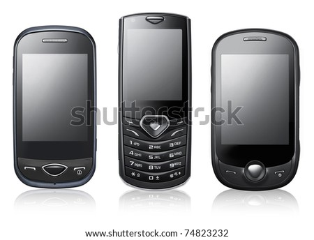 Modern mobile phones isolated on white