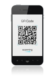 Modern mobile smartphone showing quick response code pattern scanner on the screen. Include clipping path for phone and screen.