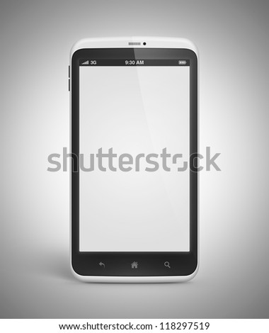 Modern mobile smartphone with blank screen isolated on gray background. Include clipping path for phone and screen. High quality and very detailed realistic object.