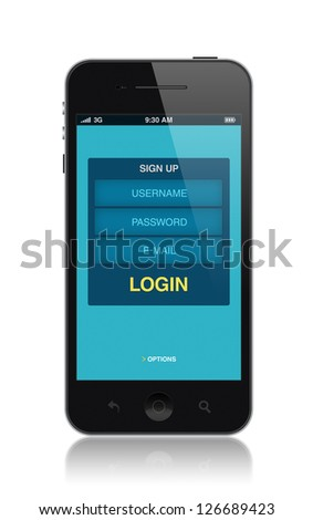 Modern mobile smartphone with login application form on a screen. Isolated on white. High quality and detailed illustration.