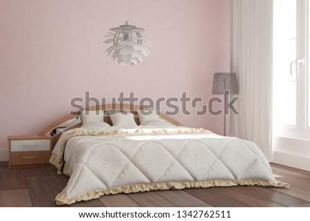 Modern modern bedroom with lamp interior design. 3D illustration