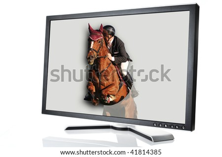 modern monitor with horse jumping out of it