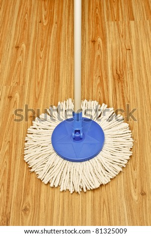 Modern mop on laminated wooden floor