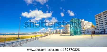 Modern moroccan architecture with panoramic view of embankment and beach in Tangier. Morocco. North Africa