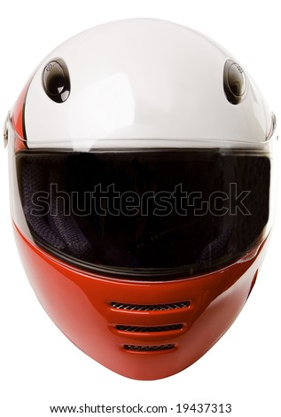 Modern motorcycle helmet frontal view isolated on white with clipping path - stock photo