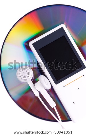 Modern MP3 player and CD disk on a white background. Close up.