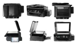 Modern multifunction printer on white background, views from different sides