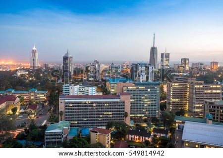 Modern Nairobi cityscape - capital city of Kenya, East Africa ストックフォト ©