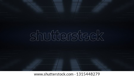 Modern Neon Glowing Blue Purple Pink Dance Stage Lights Dark Empty Sci-Fi Futuristic Ship Corridor With Reflective Surfaces. 3D Rendering  Illustration