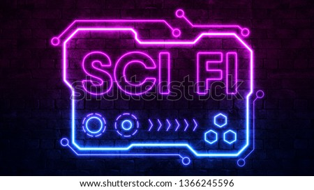 Modern neon sign sci-fi, great design for any purposes. Science, futuristic, energy technology concept. Light effect. Glow effect. Brick wall background. 3d render