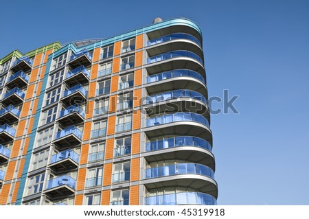 Modern, new executive apartment building in London.