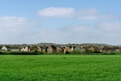 Modern new housing development, in rural Suffolk, England