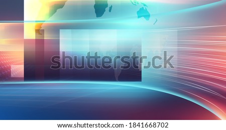 Modern news studio space with worldmap on flat screen, suitable for general news background. 3d illustration  Photo stock ©