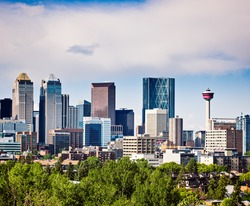 Modern North American Downtown.Alberta's Oil and Gas engine-Calgary.Picture taken while downtown is being flooded by a major storm in it's history.Copy space intentionally left above the city skyline.
