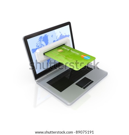 Modern notebook and green credit card.Isolated on white background.3d rendered.