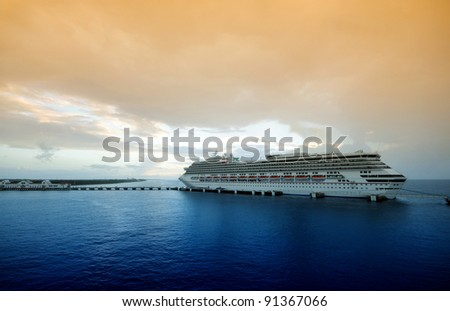 Modern ocean liner in twilight