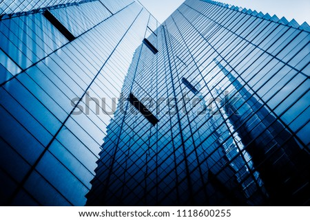 Modern office building against blue sky #1118600255