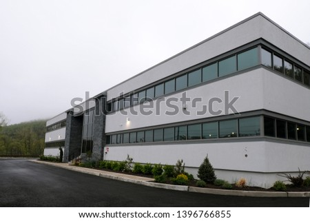 Modern office building , brand new white building with empty parking lot - 1 #1396766855