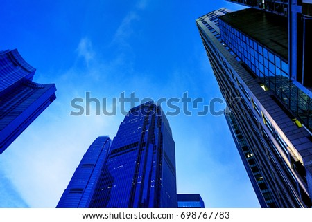 Modern office building detail, glass surface  #698767783