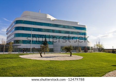 Modern office building in commercial district #12479788