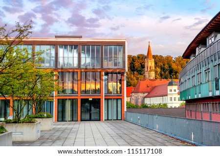 Modern office building in old german town