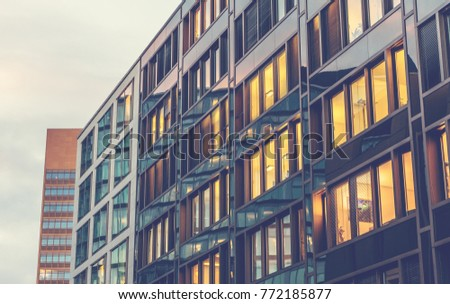 modern office building in vintage colors #772185877