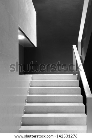 Modern office building interior detail of staircase black and white vertical #142531276