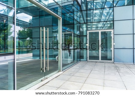 modern office building outdoors in the downtown stock photo