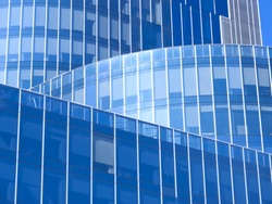 Modern office building with blue glass facade futuristic