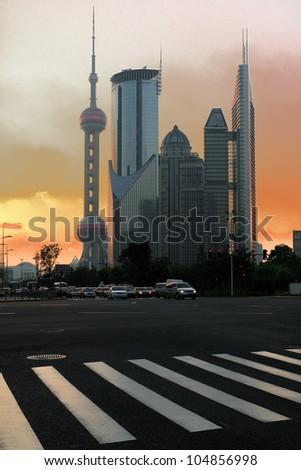 Modern office buildings at night in Shanghai