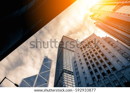Modern office buildings close up in sunlight   #592933877