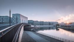 modern office buildings in Berlin, Germany along the Spree river
