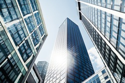 modern office buildings in low angle view