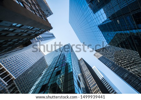 Modern office buildings in the financial district