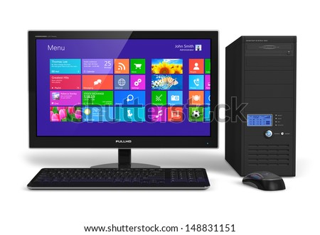 Modern Office Business Desktop Computer Pc System Monitor