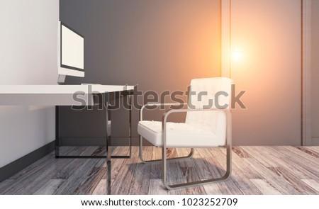 Modern office Cabinet. Meeting room. 3D rendering.. Sunset #1023252709