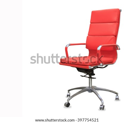 Modern office chair from red leather. Isolated #397754521