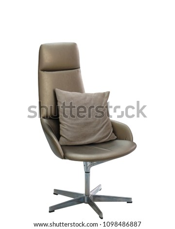 Modern office chair with the pillow over white. #1098486887