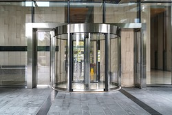 Modern office entrance glass revolving door