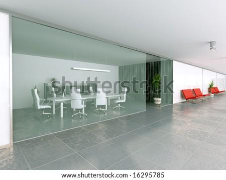 modern office hall interior (3D rendering)