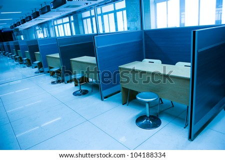 modern office interior, blue tone.