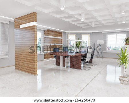 Modern office interior design concept stock photo for Office design concepts and needs