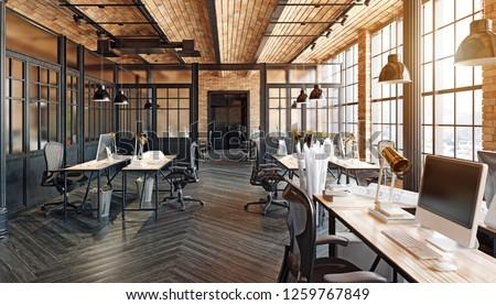 modern office interior design. Loft concept 3d rendering