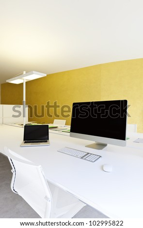 modern office interior design, workplace with computers