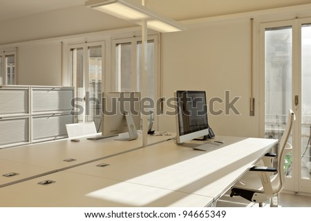 Modern Office Interior Design Workplace With Computers Ez Canvas