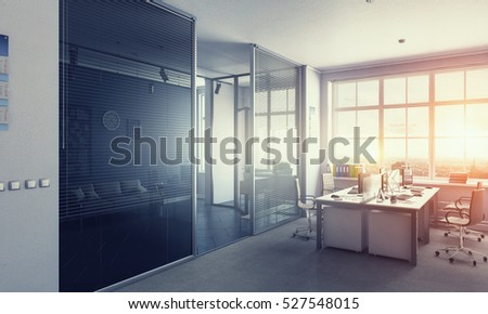 Modern office interior . Mixed media #527548015