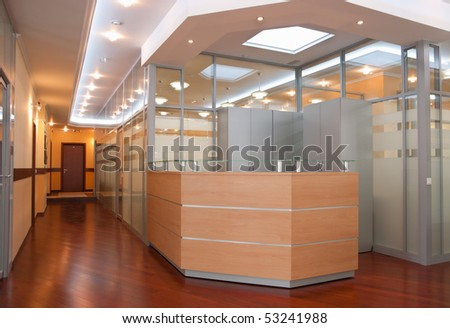 Modern office interior - reception and perspective of corridor