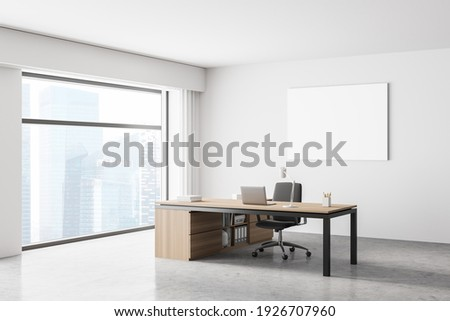Modern office interior. White poster on wall. Mock up. CEO desk. City view, panoramic window. 3d rendering.